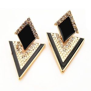 Gorgeous Gold & Black Earrings with Diamond Gems